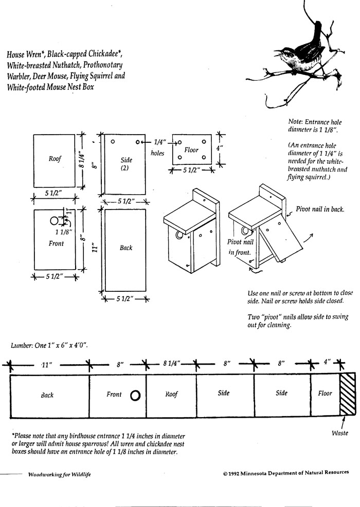 bird house plans for a chickadee